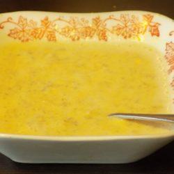 Суп из овсяных хлопьев с желтком