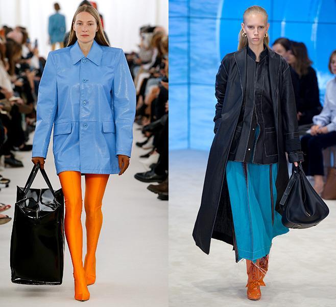 Голубой с оранжевым, синим